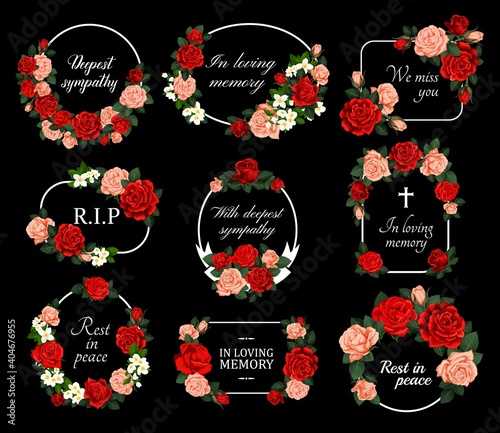 Fotografie, Obraz Funeral vector cards with red and pink rose flower wreaths