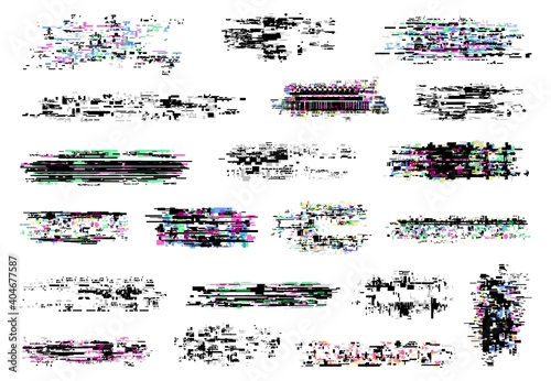 Glitch textures vector set of digital pixel noise, tv screen and television static error, VHS video distortion, computer code failure, no signal effect Fototapeta