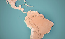 Continental Map Of South America. Topography 3d Render World Map.