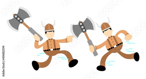 Fototapeta barbarian viking fight war cartoon doodle flat design style vector illustration