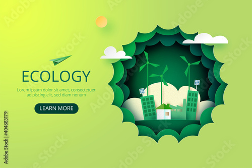 Slika na platnu Paper art of Sustainability in green eco city, alternative energy and ecology conservation concept