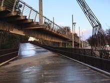 Bridges Crisscrossing In Rain Against Sky