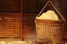 Production Of Mountainous, Bo Kluea (natural Salt Pond), (Sin-tao Salt) Ancient Salt Making From Underground Water At Nan Province, Thailand.
