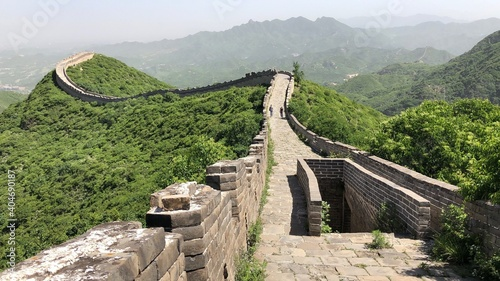 Fotografie, Obraz Great Wall Of China Amidst Mountains