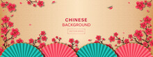 Oriental Style Banner Background With Beautiful Cherry Blossom Flowers And Fans At Border