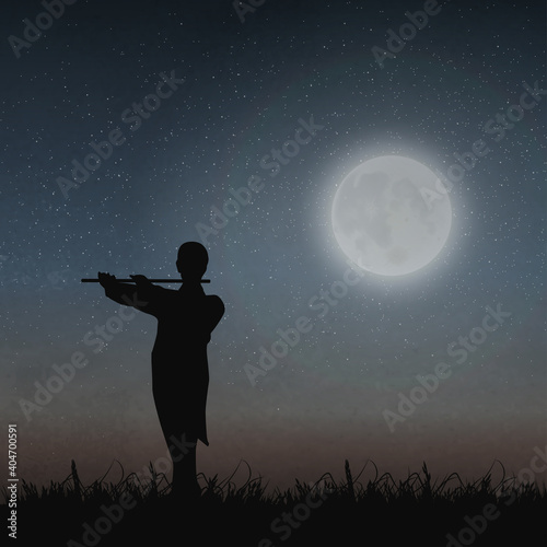 An Artist Playing A Flute Under The Moonlight Fototapeta