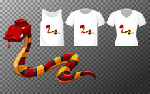 Set Of Different Shirts With Snake Cartoon Character Isolated On Transparent Background
