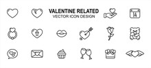 Simple Set Of Valentine Love Wedding Related Lineal Style Vector Icon User Interface Graphic Design. Contains Such Icons As Love, Heart, Broken Heart, Give, Calendar, Wedding Ring, Heart Lock, Lip,