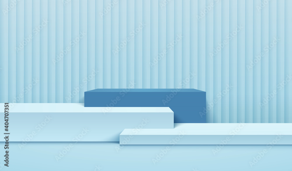 Fototapeta Abstract cube display for product on website in modern. Background rendering with podium and minimal light blue texture wall scene, 3d rendering geometric shape design. Vector illustration