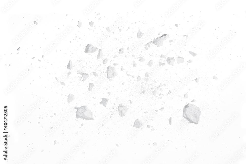Fototapeta Rock stone broken splash explosion isolated on white background texture object design