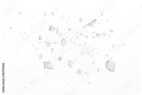Fototapeta Rock stone broken splash explosion isolated on white background texture object d