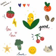 Pattern Draw Fruits And Vegetables With White Background. Corn, Tomatoes, Oranges, Cherries, Green Vegetables, Cats, Stars, Coffee. Concept Happy Love And Enjoy