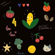 Pattern Draw Fruits And Vegetables With Black Background. Corn, Tomatoes, Oranges, Cherries, Green Vegetables, Cats, Stars, Coffee. Concept Happy Love And Enjoy