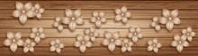 3D Wallpaper Background, High Quality Flower With Wooden Rendering Decorative Mural Wallpaper Illustration, 3D Flower Living Room Wallpaper.