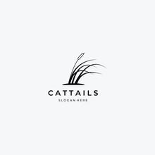 Flat Cattail Logo Vector Design Vintage Illustration, Floral Inspiration, Clever Reed Logo