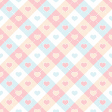Colorful Hearts Shape In Checkered Seamless Pattern Lovely Background