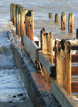 Wooden Posts On Pier Over Sea