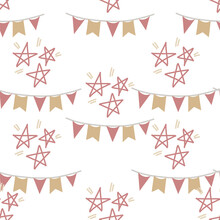 Stars And Flag Garlands Seamless Pattern For Decoration Of Invitations, Greeting Cards, Birthday Party Posters. Vector Illustrations
