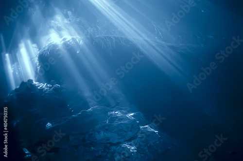 Obraz rays of light under water, abstract marine background nature landscape rays blurred - fototapety do salonu