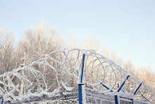 Barbed Wire Winter Object, Abstract Background Crime Guard