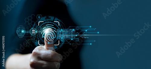 Fotografie, Tablou Businessman using fingerprint indentification to access personal financial data
