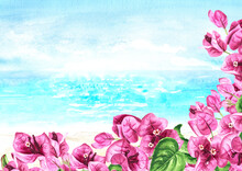 Pink Bougainvillea Branches With Flowers And Leaves Frame And Sea With Blue Sky With Copy Space. Hand Drawn Watercolor Illustration And Background