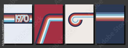 Canvas Print Vintage Color Lines 1970s Style