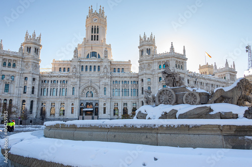 Plaza de la Cibeles in Madrid covered in snow after the storm Filomena passed through the capital. Extreme cold. Nevada in Madrid. Filomena storm.