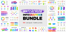 30 Watercolor Infographic Presentation Templates. Brush Strokes Banners. Perfect For Any Industry From Business Or Marketing To Drawing And Education.