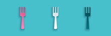 Paper Cut Fork Icon Isolated On Blue Background. Cutlery Symbol. Paper Art Style. Vector.