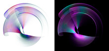 Colorful Wavy Transparent Rounded Elements Revolve Around The Center On White And Black Backgrounds. Graphic Design Elements Set. 3d Rendering. 3d Illustration. Sign, Icon, Symbol, Logo.