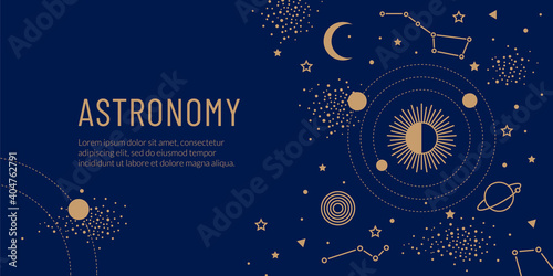 Slika na platnu Golden space objects, the sun, planets in orbit and stars on a blue background