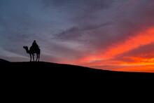 Silhouette Man Riding Camel At Desert Against Sky During Sunset
