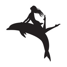 Vector Silhouette Of A Girl Sitting On A Jumping Dolphin. Isolated On White Background.