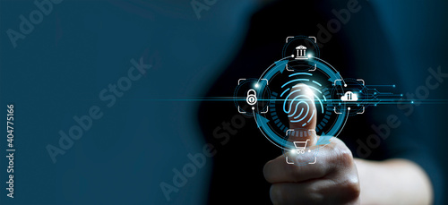 .Technology safety of future and cybernetic on internet, Fingerprint scan provides access of security and identification of business, Big Data, Banking and Cloud computing.