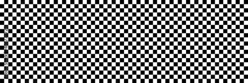 Fotografia Long checkered geometric background with black and white tile
