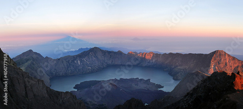 Foto Volcanic Crater Against Sky During Sunset