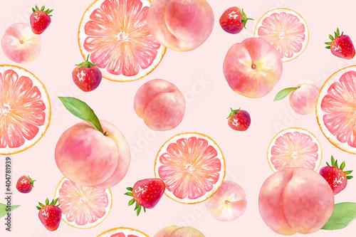 Obraz ピンク色のジューシーなフルーツのシームレスパターン。水彩イラスト。(モモ、イチゴ、グレープフルーツ) - fototapety do salonu