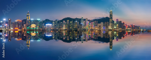 Obraz Panorama of Victoria Harbor in Hong Kong at dusk - fototapety do salonu