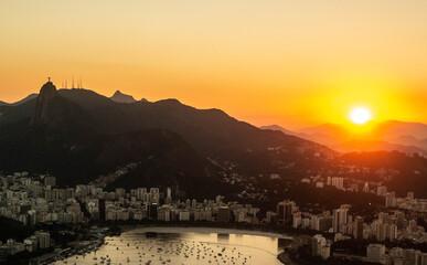 sunset over the city of Rio de Janeiro Brazil