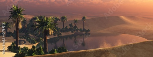 Fototapeta Oasis in the desert, oasis in the dunes, oasis with palm trees at sunset, desert