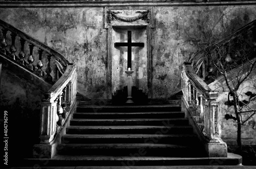 Staircase And Cross At Church Fotobehang