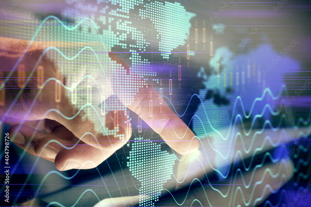 Fototapeta Multi exposure of man's hands holding and using a phone and financial chart drawing. Market analysis concept.