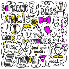 Vector Illustration Of Choir Performance Doodles Set. Concept For Postcards, Invitations, Poster Prints.