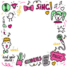 Vector Frame Background Of Choir Performance Doodles. Concept For Postcards, Invitations, Poster Prints.