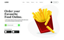 Illustration Of Fast Food Web Banner. Junk Food For Restaurant Landing Page. Order Food Online.