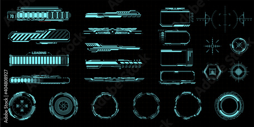 HUD kit. Futuristic virtual game UI, UX.  Modern space symbols for web design interface futuristic digital frames. Isolated sight and viewfinder, circle. Loading process indicator. Vector illustration