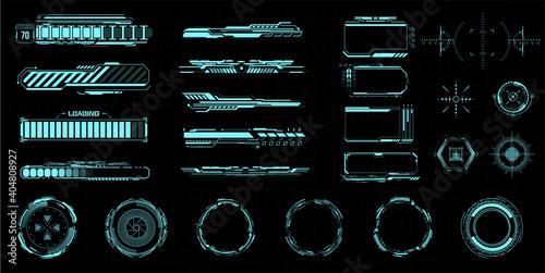Obraz HUD kit. Futuristic virtual game UI, UX.  Modern space symbols for web design interface futuristic digital frames. Isolated sight and viewfinder, circle. Loading process indicator. Vector illustration - fototapety do salonu
