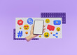 Social media trendy design. Hand holding smartphone with emoji, like, share icons. 3d rendering