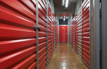 Storage Corridor Warehouse. Self Storage Facility, Red Metal Doors With Locks. Moving, Organizing, Storage Concept.